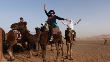 Camel ride at sunset